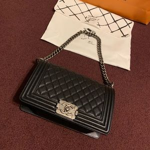 Chanel Medium Caviar Leather Le Boy Bag